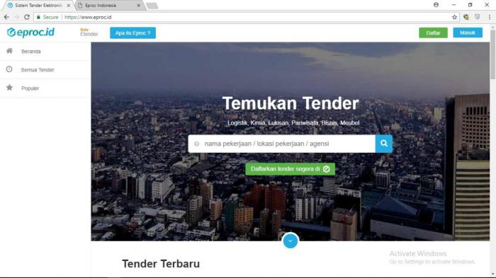 Eproc Sistem Tender Elektronik Indonesia Web Android And Ios Mobile Developer Enterprise Software Indonesia Dtc